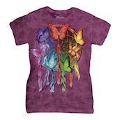 Rainbow Butterfly Dreamcatcher ladies t-shirt