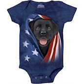 Patriotic Black Lab Pup Bodystocking